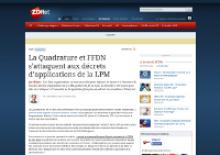 Capture d'écran : ZD Net -  La Quadrature et FFDN s'attaquent aux décrets d'applications de la LPM